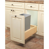 Wooden Single 35qt Bin Undermount Waste Pull-Out, Platinum, Min. Cabinet Opening: 11-3/4'' Wide