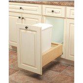 Wooden Single 35qt Bin Undermount Waste Pull-Out, White, Min. Cabinet Opening: 11-3/4'' Wide
