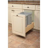 Wooden Double 27qt Bin Undermount Waste Bin Pull-Out, Platinum, Min. Cabinet Opening: 11-3/4'' Wide