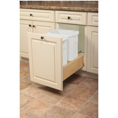 Wooden Double 27qt Bin Undermount Waste Bin Pull-Out, White, Min. Cabinet Opening: 11-3/4'' Wide