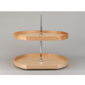 Rev-A-Shelf D-Shape Best Quality Natural Wood 2-Tray Lazy Susan for Diagonal Wall Cabinet, 20'' - 32'' Sizes Available