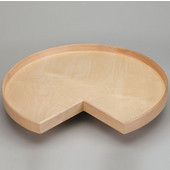 Rev-A-Shelf 28'' - 32'' Kidney Shaped Best Quality Natural Wood Single Tray Lazy Susan w/ Aluminum Bearing, Also Available with Tall Rim