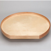 32'' Natural Wood D Shape Tall Rim Tray w/ 10'' Aluminum Bearing Corner Lazy Susans
