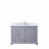 Dukes 48'' Dark Grey Single Vanity, White Carrara Marble Top, White Square Sink, 48''W x 22''D x 34''H