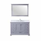 Dukes 48'' Dark Grey Single Vanity, White Carrara Marble Top, White Square Sink and 46'' Mirror, 48''W x 22''D x 34''H