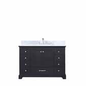 Dukes 48'' Espresso Single Vanity, White Carrara Marble Top, White Square Sink, 48''W x 22''D x 34''H