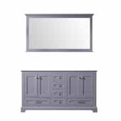 Dukes 60'' Dark Grey Double Vanity Base Only With 58'' Mirror, 59''W x 21-1/2''D x 33-1/4''H