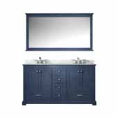 Dukes 60'' Navy Blue Double Vanity, White Carrara Marble Top, White Square Sinks and 58'' Mirror, 60''W x 22''D x 34''H