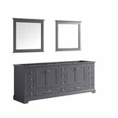 Dukes 84'' Dark Grey Double Vanity Base Only With 34'' Mirrors, 83''W x 21-1/2''D x 33-1/4''H