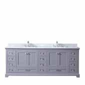 Dukes 84'' Dark Grey Double Vanity, White Carrara Marble Top, White Square Sinks, 84''W x 22''D x 34''H