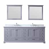 Dukes 84'' Dark Grey Double Vanity, White Carrara Marble Top, White Square Sinks and 34'' Mirrors, 84''W x 22''D x 34''H