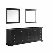 Dukes 84'' Espresso Double Vanity Base Only With 34'' Mirrors, 83''W x 21-1/2''D x 33-1/4''H