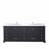 Dukes 84'' Espresso Double Vanity, White Carrara Marble Top, White Square Sinks, 84''W x 22''D x 34''H