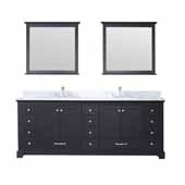 Dukes 84'' Espresso Double Vanity, White Carrara Marble Top, White Square Sinks and 34'' Mirrors, 84''W x 22''D x 34''H
