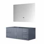 Geneva 48'' Dark Grey Single Vanity Base Only With 48'' LED Mirror, 47-1/2''W x 21-1/2''D x 18-1/4''H