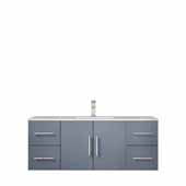 Geneva 48'' Dark Grey Single Vanity, White Carrara Marble Top, White Square Sink, 48''W x 22''D x 19''H