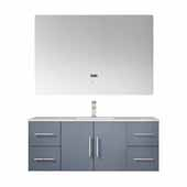 Geneva 48'' Dark Grey Single Vanity, White Carrara Marble Top, White Square Sink, 48'' LED Mirror and Faucet, 48''W x 22''D x 19''H