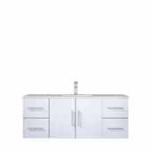 Geneva 48'' Glossy White Single Vanity, White Carrara Marble Top, White Square Sink, 48''W x 22''D x 19''H