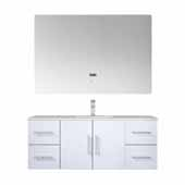 Geneva 48'' Glossy White Single Vanity, White Carrara Marble Top, White Square Sink, 48'' LED Mirror and Faucet, 48''W x 22''D x 19''H