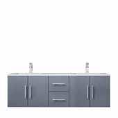 Geneva 60'' Dark Grey Double Vanity, White Carrara Marble Top, White Square Sinks, 60''W x 22''D x 19''H