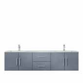 Geneva 72'' Dark Grey Double Vanity, White Carrara Marble Top, White Square Sinks, 72''W x 22''D x 19''H
