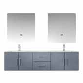 Geneva 72'' Dark Grey Double Vanity, White Carrara Marble Top, White Square Sinks, 30'' LED Mirrors and Faucets, 72''W x 22''D x 19''H