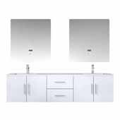 Geneva 72'' Glossy White Double Vanity, White Carrara Marble Top, White Square Sinks, 30'' LED Mirrors and Faucets, 72''W x 22''D x 19''H
