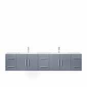 Geneva 84'' Dark Grey Double Vanity, White Carrara Marble Top, White Square Sinks, 84''W x 22''D x 19''H