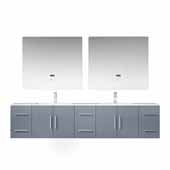 Geneva 84'' Dark Grey Double Vanity, White Carrara Marble Top, White Square Sinks, 36'' LED Mirrors and Faucets, 84''W x 22''D x 19''H