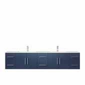 Geneva 84'' Navy Blue Double Vanity, White Carrara Marble Top, White Square Sinks, 84''W x 22''D x 19''H
