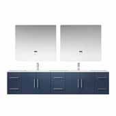 Geneva 84'' Navy Blue Double Vanity, White Carrara Marble Top, White Square Sinks, 36'' LED Mirrors and Faucets, 84''W x 22''D x 19''H
