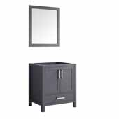 Jacques 30'' Dark Grey Single Vanity Base Only With 28'' Mirror, 29''W x 21-1/2''D x 33-1/4''H