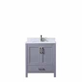Jacques 30'' Dark Grey Single Vanity, White Carrara Marble Top, White Square Sink, 30''W x 22''D x 34''H