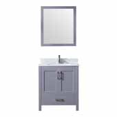 Jacques 30'' Dark Grey Single Vanity, White Carrara Marble Top, White Square Sink and 28'' Mirror, 30''W x 22''D x 34''H