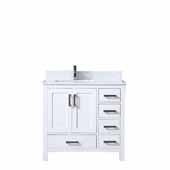 Jacques 36'' White Single Vanity, White Carrara Marble Top, White Square Sink - Left Version, 36''W x 22''D x 34''H