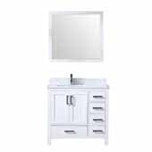 Jacques 36'' White Single Vanity, White Carrara Marble Top, White Square Sink and 34'' Mirror - Left Version, 36''W x 22''D x 34''H