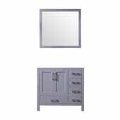 Jacques 36'' Dark Grey Single Vanity Base Only With 34'' Mirror - Left Version, 35''W x 21-1/2''D x 33-1/4''H