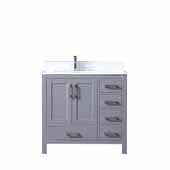 Jacques 36'' Dark Grey Single Vanity, White Carrara Marble Top, White Square Sink - Left Version, 36''W x 22''D x 34''H