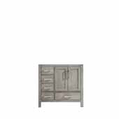 Jacques 36'' Distressed Grey Vanity Base Cabinet Only - Right Version, 35'W x 21-1/2'D x 33-1/4'H