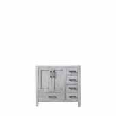 Jacques 36'' Distressed Grey Vanity Base Cabinet Only - Left Version, 35'W x 21-1/2'D x 33-1/4'H
