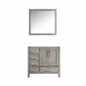 Jacques 36'' Distressed Grey Single Vanity Base Only With 34' Mirror - Right Version, 35'W x 21-1/2'D x 33-1/4'H
