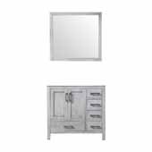 Jacques 36'' Distressed Grey Single Vanity Base Only With 34' Mirror - Left Version, 35'W x 21-1/2'D x 33-1/4'H