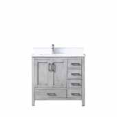 Jacques 36'' Distressed Grey Single Vanity, White Carrara Marble Top, White Square Sink - Left Version, 36'W x 22'D x 34'H