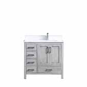 Jacques 36'' Distressed Grey Single Vanity, White Carrara Marble Top, White Square Sink - Right Version, 36'W x 22'D x 34'H