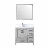 Jacques 36'' Navy Blue Single Vanity Base Only With 34' Mirror - Left Version, 35'W x 21-1/2'D x 33-1/4'H