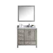 Jacques 36'' Distressed Grey Single Vanity, White Carrara Marble Top, White Square Sink and 34' Mirror - Right Version, 36'W x 22'D x 34'H
