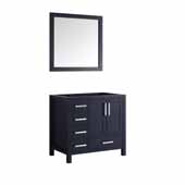 Jacques 36'' Navy Blue Single Vanity Base Only With 34' Mirror - Right Version, 35'W x 21-1/2'D x 33-1/4'H