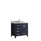 Jacques 36'' Navy Blue Single Vanity, White Carrara Marble Top, White Square Sink - Right Version, 36'W x 22'D x 34'H