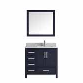 Jacques 36'' Navy Blue Single Vanity, White Carrara Marble Top, White Square Sink and 34' Mirror - Right Version, 36'W x 22'D x 34'H