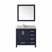 Jacques 36'' Navy Blue Single Vanity, White Carrara Marble Top, White Square Sink and 34' Mirror - Left Version, 36'W x 22'D x 34'H